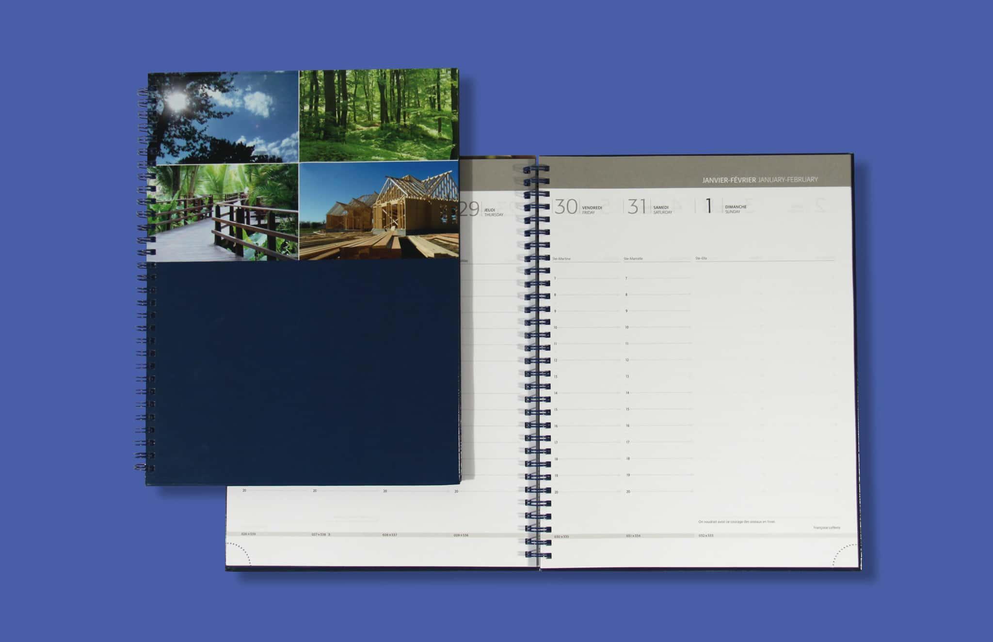 Agenda Bureau V27 Couverture Imprimee Reliure Spirale